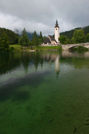 The church dedicated to John the Baptist in Ribcev Laz on the Bohinj Lake, in Slovenia Stock Photo