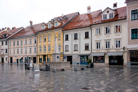 The Main square of the village of Kranj situated in Slovenia.