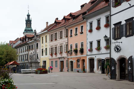 The main square of the medieval village of Skofja Loka situated in Slovenia.
