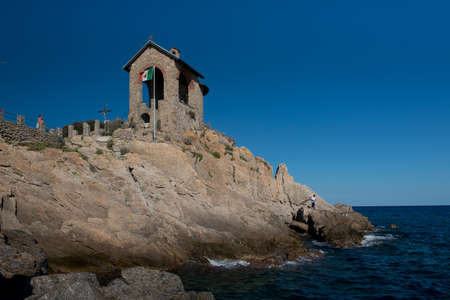 Little chapel situated on the sea in Alassio on the riviera di ponente.