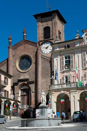 The main square of the village of Moncalieri, near Torino in Piedmont. Editorial