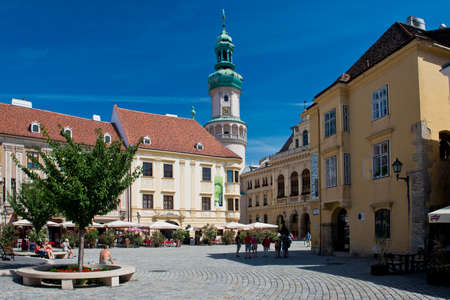 The Main square in the old town of Sopron, important town in the western Transdanubia of Hungary.