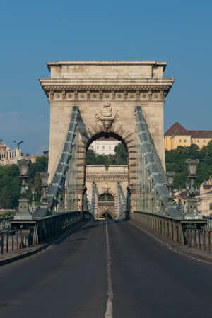 szechenyi: The szechenyi chain bridge on the danube, built at the end of the 19th century and one of the symbols of Budapest