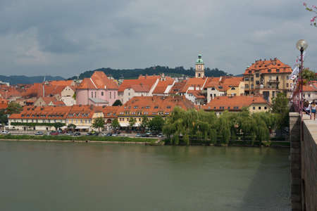 drava: View from the Drava river of the old town of Maribor, second largest city in Slovenia.