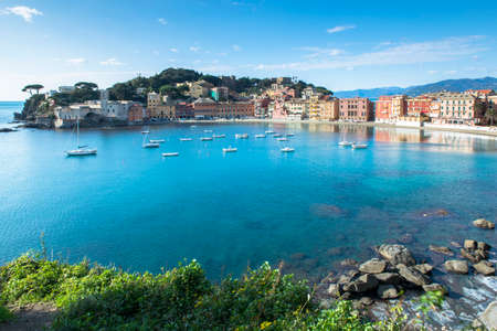 Wonderful view of the Baia del Silenzio in the typical village of Sestri Levante, Liguria