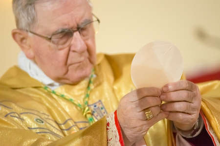 GENOA, ITALY - 14 FEBRUARY 2015 - Bishop officiating mass during the Holy Communion Редакционное
