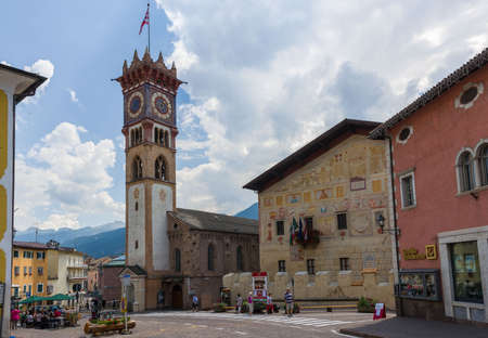 The bell tower of the main church of Cavalese, situated in the Fiemme Valley
