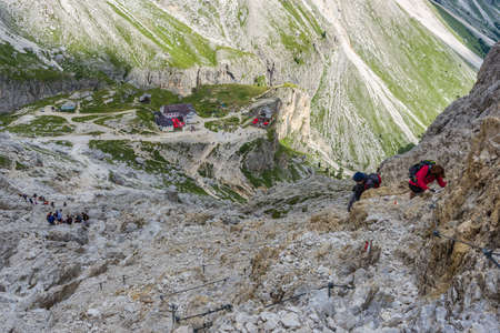 alpinism: Alpinism in the Rosengarten group in the Dolomites