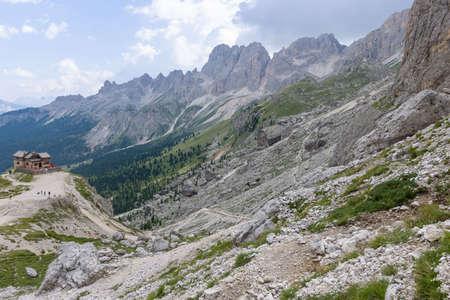 rosengarten: Mountain hut Preuss in the Rosengarten Group of Dolomites