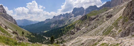refuge: View of the valley from Preuss refuge in the Dolomites.