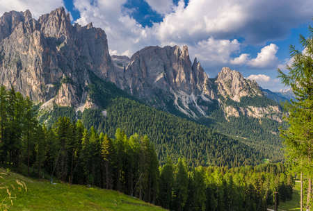 refuge: Panorama of the Rosengarten group in the Dolomites.