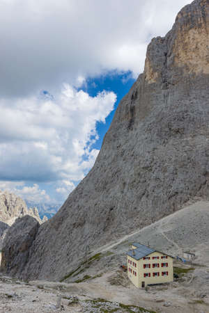 mountain hut: Mountain hut near Vajolet Towers, in the Rosergarten Group of Dolomites Stock Photo