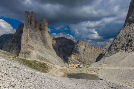 vajolet: The Vajolet Towers, in the Rosengarten Group of Dolomites. Stock Photo
