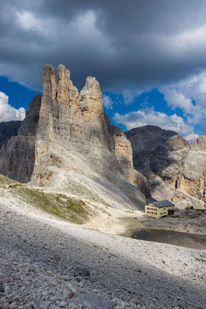 rosengarten: The Vajolet Towers, in the Rosengarten Group of Dolomites. Stock Photo