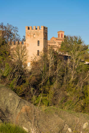 fortification: Tower of the fortification surrounding the ancient abbey of Monteveglio