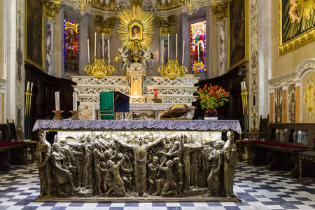 altar: Inside the church of SantAmbrogio of Zoagli: the decorated altar Editorial