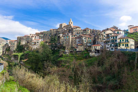 italian landscape: View over the medieval village of Ceriana, Liguria, Italy Stock Photo