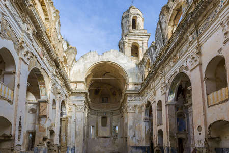 Ancient church in Bussana Vecchia, without roof, destroyed by an earthquake in 1887
