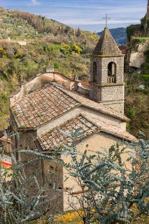 oratoria: Oratorio de Santa Caterina en el antiguo pueblo de Ceriana, Liguria, Italia Foto de archivo