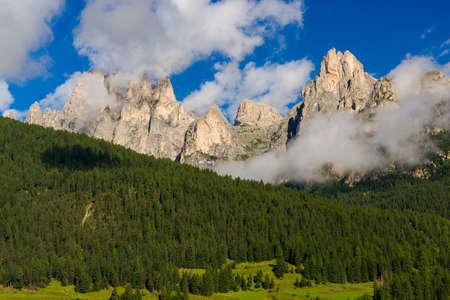 fassa: Idyllic mountain panorama during the summer season in Fassa Valley, near Pozza di Fassa Stock Photo