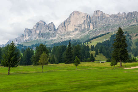 rosengarten: Panorama of the Rotwand in the Rosengarten Group of the Dolomites Stock Photo