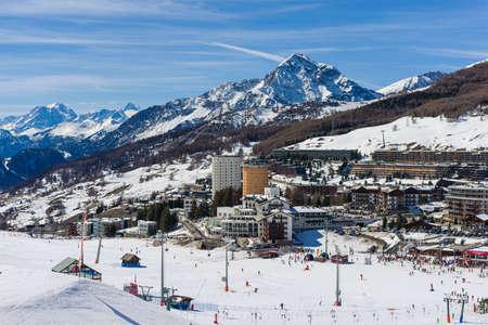 Sestriere, modern village, situated in the Via Lattea ski resort in Piedmont. Фото со стока
