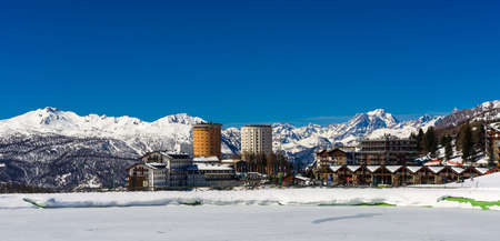 Sestriere, modern village, situated in the Via Lattea ski resort in Piedmont. Stock Photo