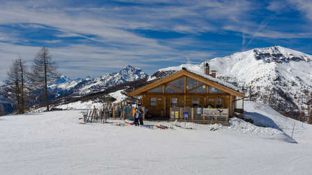 mountain hut: Mountain hut on the slopes of Sestriere, in the Milky Way ski resort in Piedmont