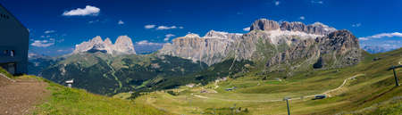 sella: View over the Sella Group in the Dolomites Stock Photo