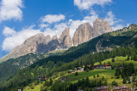 rosengarten: View in the dolomitic landscape in the Fassa Valley