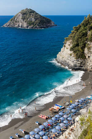 riviera: View over the beach of Bergeggi, in the Ligurian Riviera Editorial