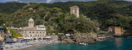 The abbey and the village of San Fruttuoso, situated in the natural reserve of Portofino, in Italy.