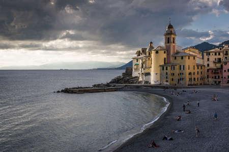 Panorama over the beach and the church of Camogli, in Liguria Stock Photo
