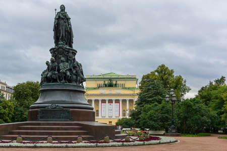 The statue of Catherine the Great in Ostrovskij Square near Nevsky Prospekt in Saint Petersburg