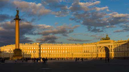 The baroque general staff building on Palace Square in Saint Petersburg, built by Carlo Rossi