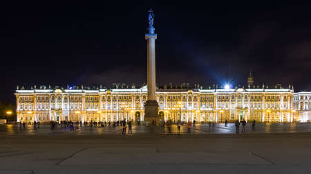 Nightview of the magnificent Palace Square in the old town of Saint Petersburg.