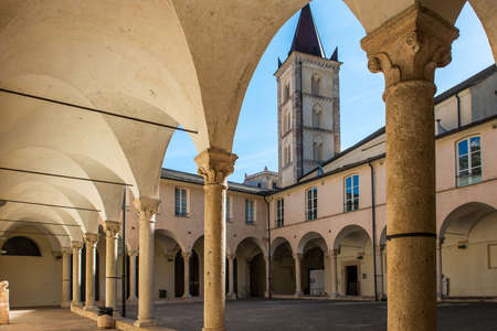 The cloister of Santa Caterina in the ancient village of Finalborgo, Italy Stock Photo