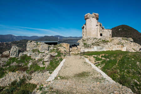 Ruines of Castel Gavone, situated in Perti, Finale Ligure, Italy Stock Photo
