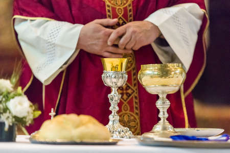 Holy bread rite during the Catholic Mass