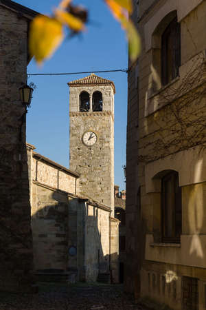 The medieval village of Vigoleno, situated in Emilia Romagna Stock Photo