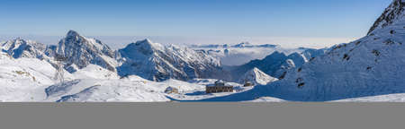 The 3.000 meters Passo Salati, passage from Gressoney to Alagna, in winter time. Stock Photo