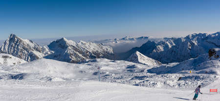 Panorama of Pennine Alps in Alagna Stock Photo