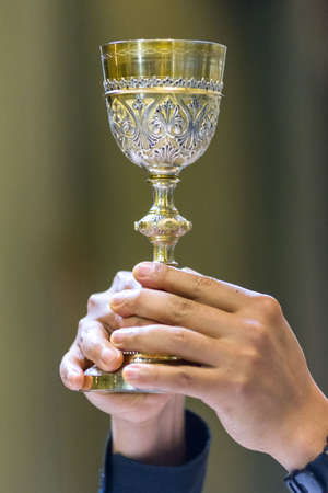 The Holy Bread rite, during the Mass, in een katholieke kerk