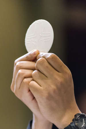 The Holy Bread rite, during the Mass, in a catholic church Banque d'images