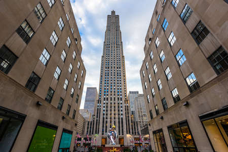 New York City, USA - July 2 2017 - Rockfeller Center, Art Deco building complex, situated between 5th and 6th Avenue, built between 1930 and 1939