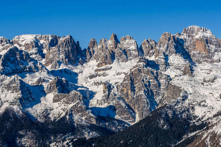 The beatiful snowy ski area of the Brenta Group in the Dolomites