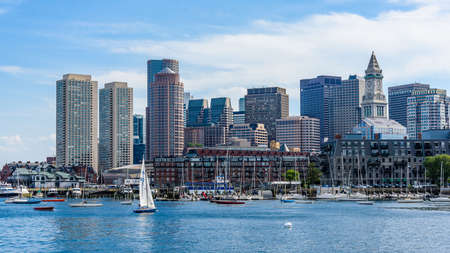 View of the waterfront and the harbour of Boston, Massachusetts Editorial