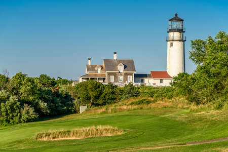 Highland Light in North Truro is an active lighthouse in the Cape Cod National Seashore Stock Photo