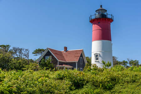 The lighthouse of Nauset, one of the most famous in Cape Cod Фото со стока