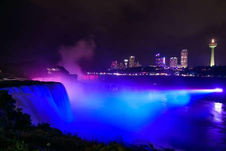 The falls of Niagara illuminated by night